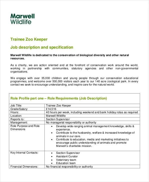 zookeeper resume objective