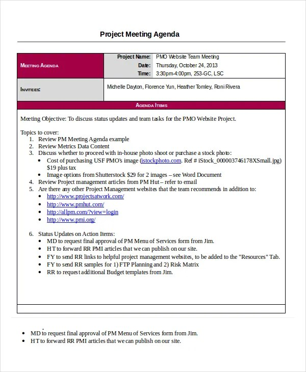 Project Agenda Template- 6+ Free Word, PDF Documents Download - sample meeting agenda 2