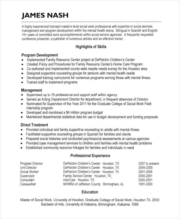 sample hospice resume