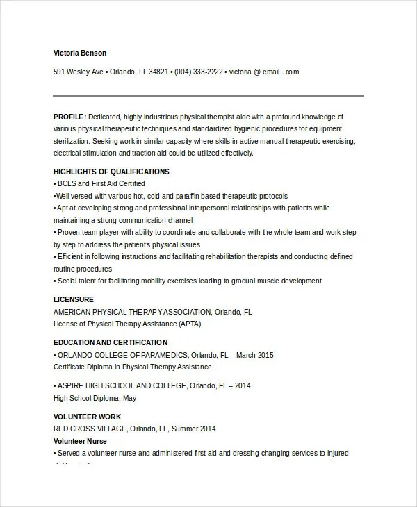 Physical Therapist Resume - 5+ Free Word, PDF Documents Download - Counseling Resume Examples