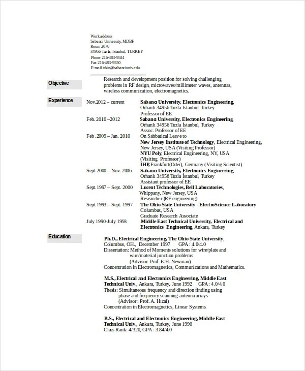 6+ Electrical Engineering Resume Templates - PDF, DOC Free - Resume Electrical Engineer