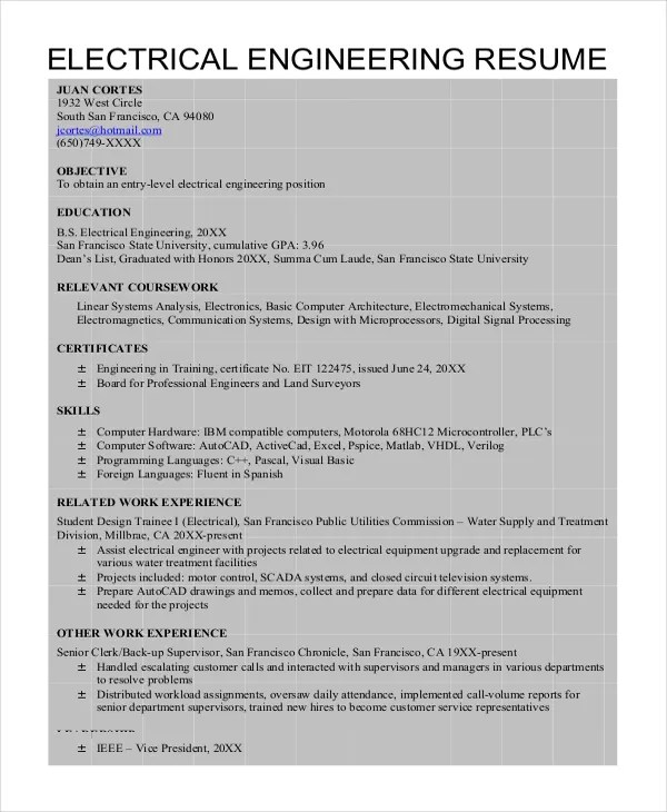 6+ Electrical Engineering Resume Templates - PDF, DOC Free - electrical engineering resume sample