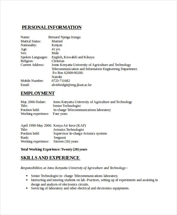 6+ Electrical Engineering Resume Templates - PDF, DOC Free - resume format for diploma holders