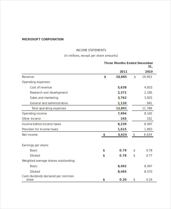 Income Statement Template - 9+ Free Excel, PDF Documents Download - microsoft income statement