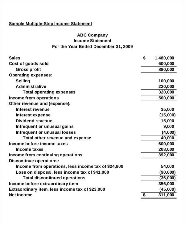 income statement template - microsoft income statement