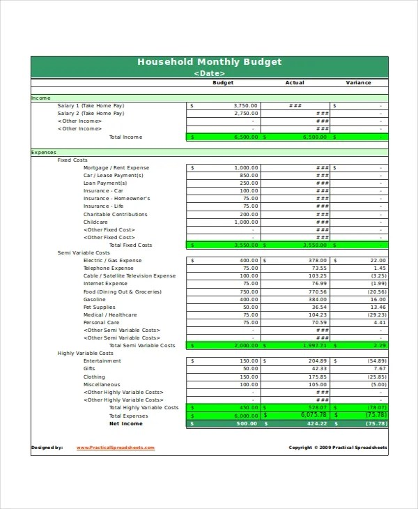 Excel Monthly Budget Template - 18+ Free Excel Document Downloads - excel monthly budget spreadsheet