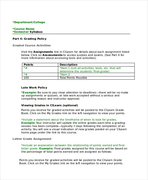 Syllabus Template - 7+ Free Word Documents Download Free  Premium - syllabus template