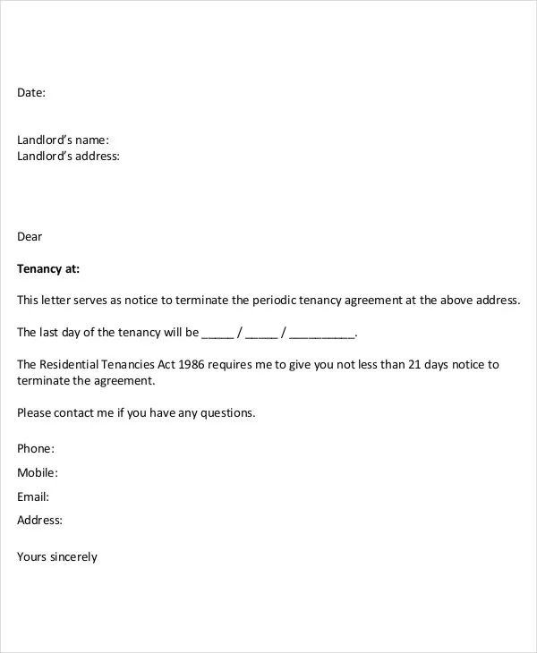 apartment termination letters