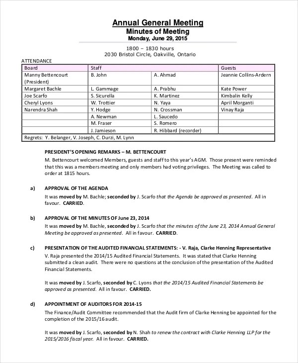 annual general meeting minutes template sample strategic planning - meeting template sample
