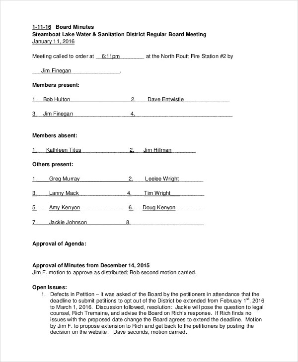 Annual meeting template for Annual corporate minutes template free