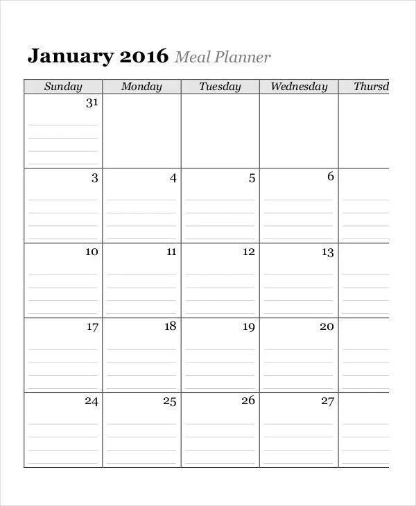 monthly meal plan calendar
