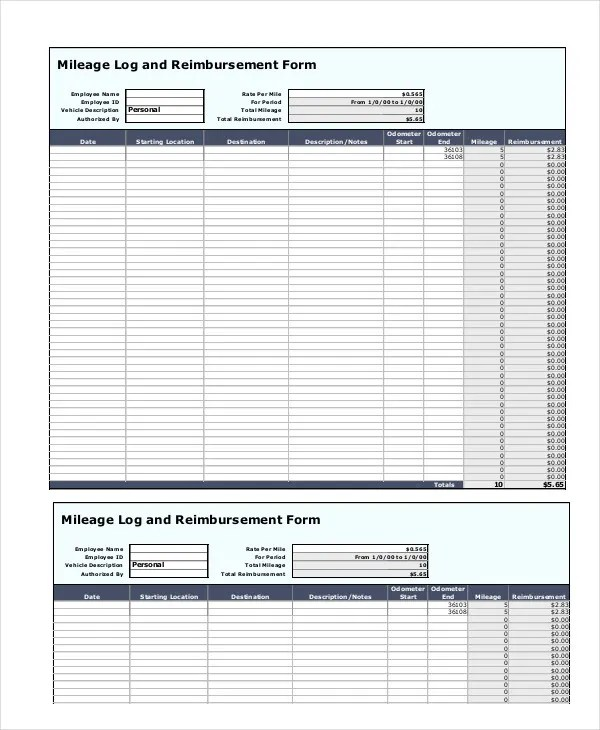 mileage form template - Teacheng - Mileage Reimbursement Forms