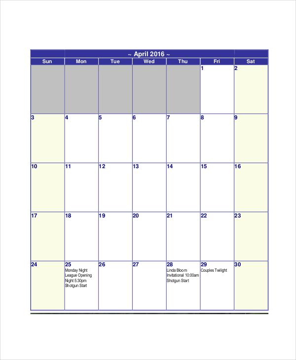 Blank Calendar Template - 11+ Free Word, Excel, PDF Documents