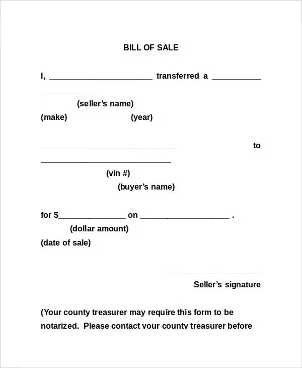 Bill Of Sale Form - 13+ Free Word, PDF Documents Download Free - bill of sales forms