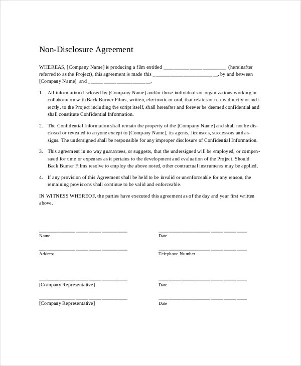 Non Disclosure Agreement - 16+ Free Word, PDF Documents Download - non disclosure agreements