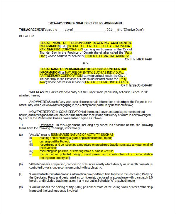Non Disclosure Agreement - 16+ Free Word, PDF Documents Download - business non disclosure agreement