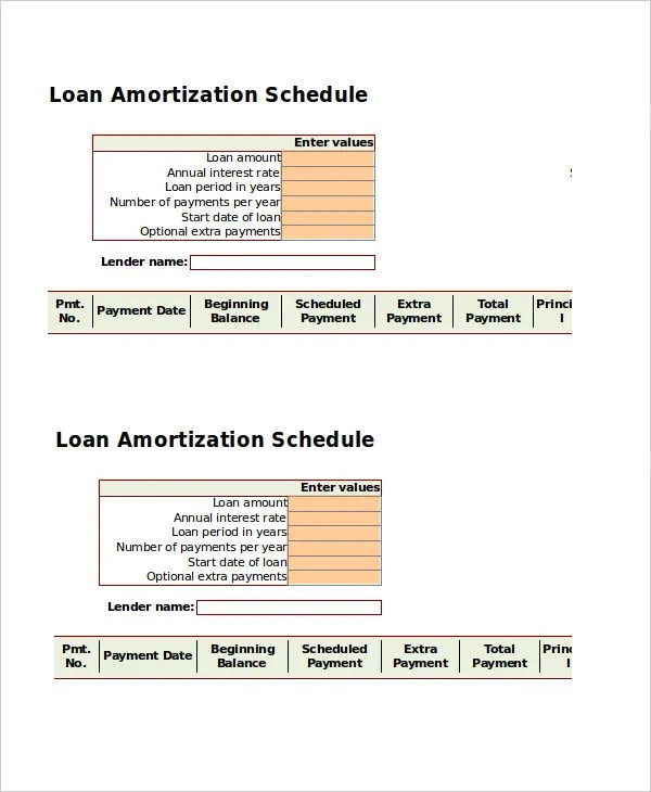 Amortization Schedule Template - 5 Free Word, Excel Documents