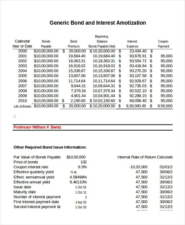 Amortization Schedule Template - 5 Free Word, Excel Documents - amortization calculator excel