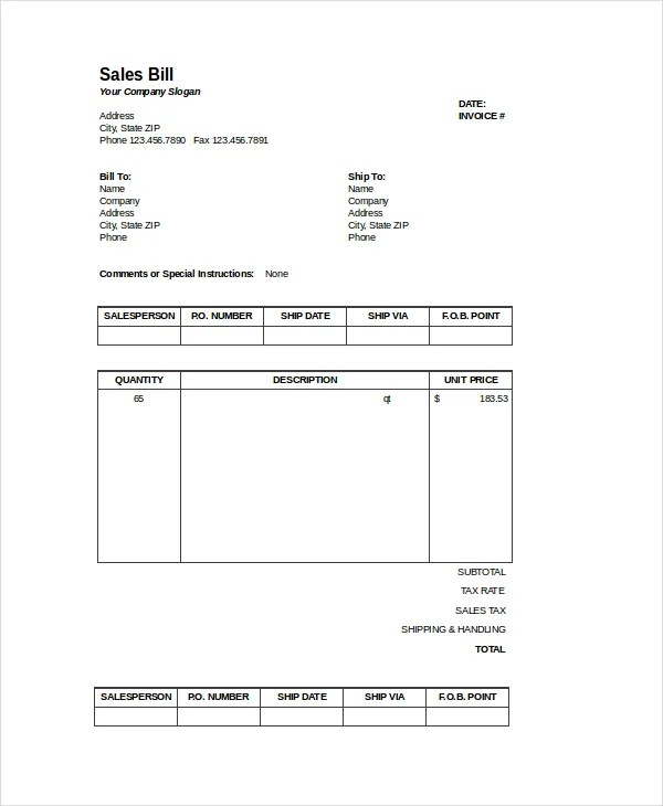Excel Bill Template - 14+ Free Excel Documents Download Free
