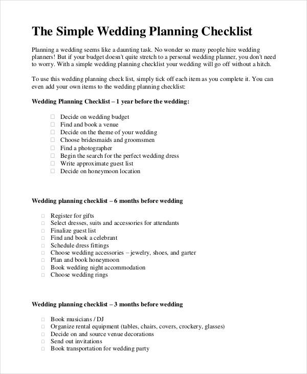 Simple Wedding Checklist - 23+ Free Word, PDF Documents Download