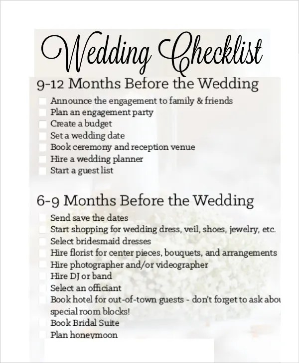 14+ Wedding Checklist Templates - Free PDF, Doc Format Download - Wedding Checklist Pdf