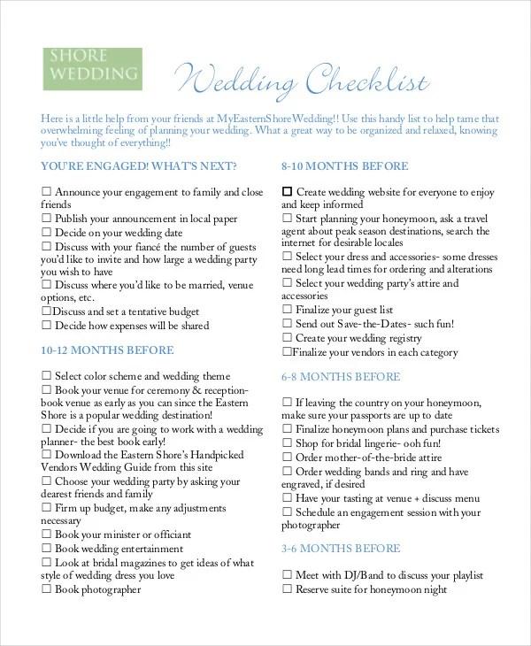 Simple Wedding Checklist - 23+ Free Word, PDF Documents Download - wedding checklist