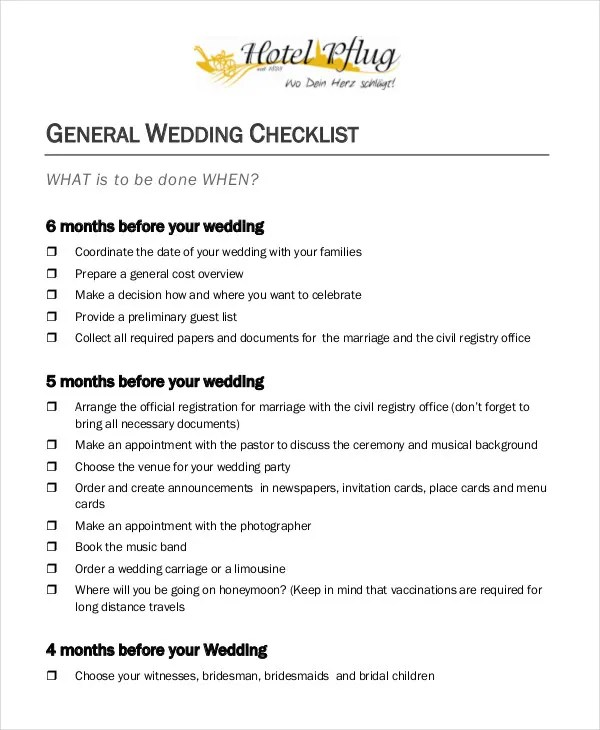 Simple Wedding Checklist - 23+ Free Word, PDF Documents Download