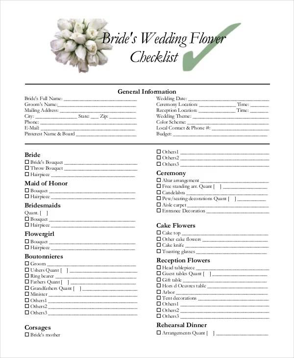 Simple Wedding Checklist - 23+ Free Word, PDF Documents Download - wedding checklist template