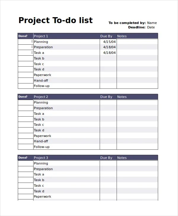 Task List Template - project to do list templates