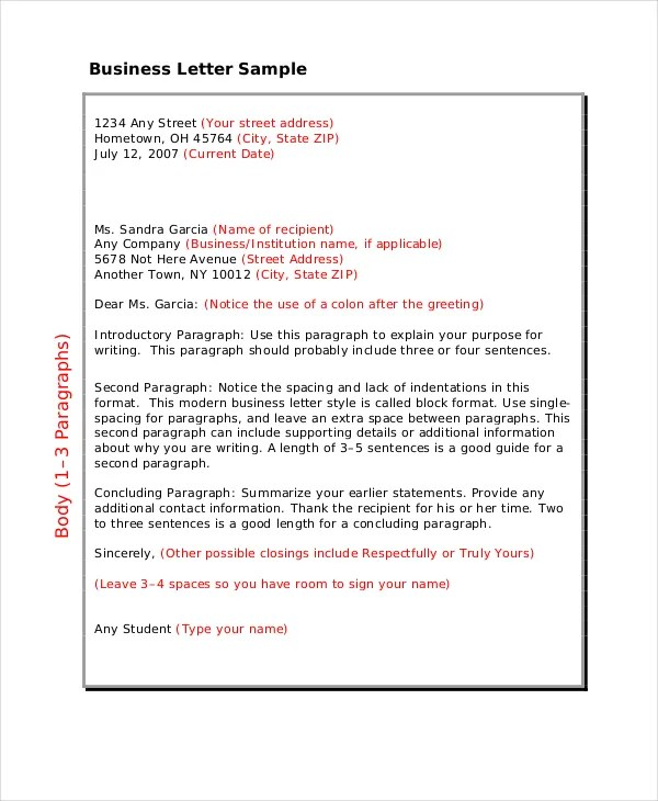 Gallery of Types Of Letters Format - sample business letters format