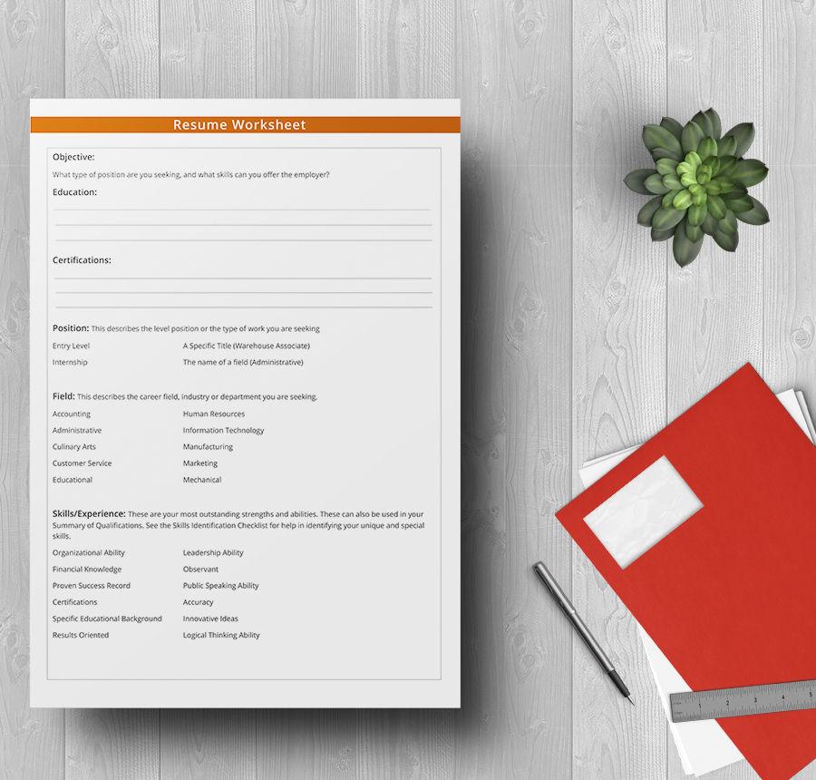 5+ Free Worksheet Templates - Resume, Budget, Event Free  Premium