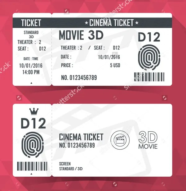 14+ Ticket Template - Free PSD, AI, Vector EPS Format Download - movie theater ticket template