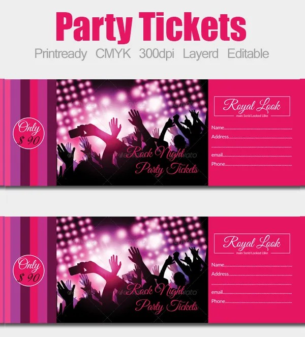 24+ Ticket Template - Free PSD, AI, Vector EPS Format Download - party ticket template