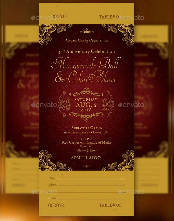 24+ Ticket Template - Free PSD, AI, Vector EPS Format Download - Ball Ticket Template