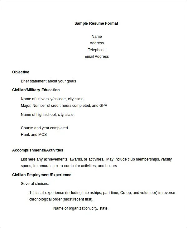 Resume Format Sample Business School Resume Format Sample Resume - sample business resume