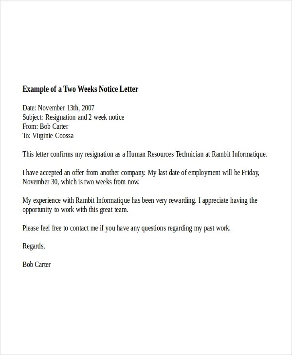 Weeks Notice Letter Two Week Notice Letter Example 9+ Two Weeks - 2 week notice letters