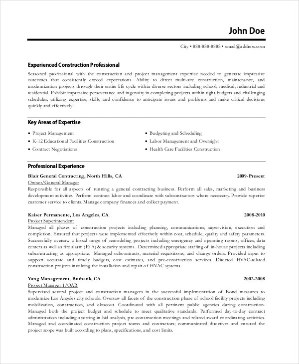 Resume Sample For Project Manager - facilities project manager sample resume
