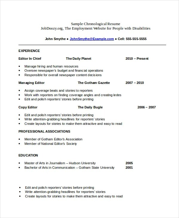 Chronological Resume Template - 23+ Free Samples, Examples, Format - how to make a resume examples