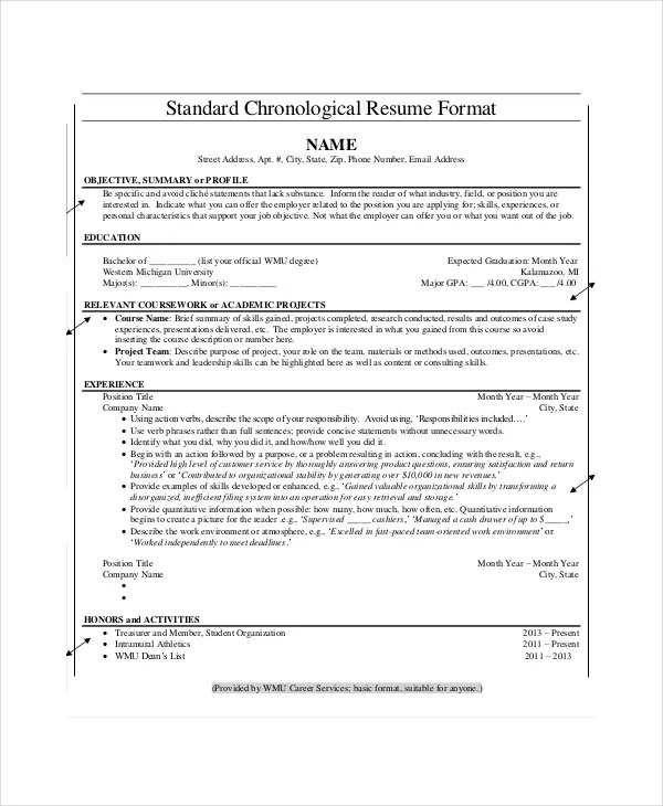 Chronological Resume Template - 23+ Free Samples, Examples, Format - Official Resume Template