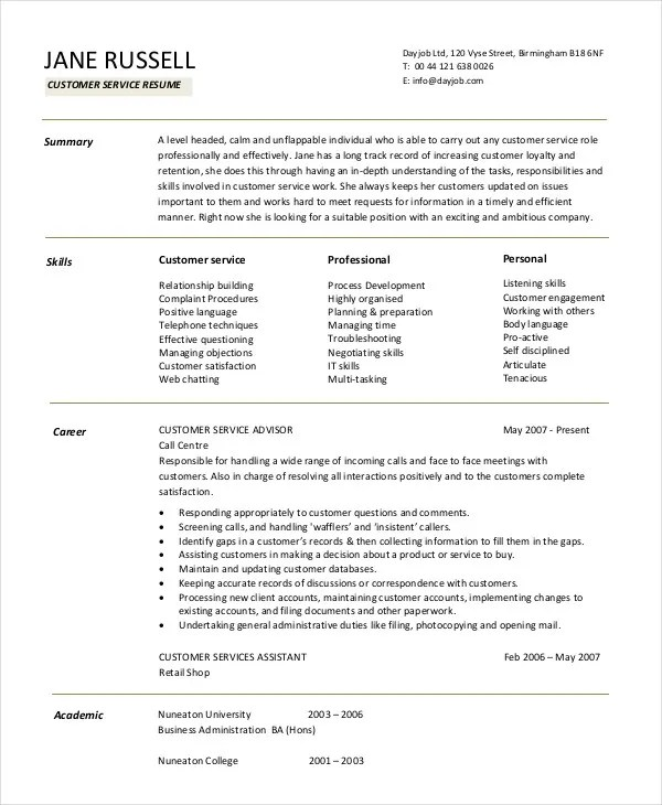 11+ Customer Service Resume Templates - PDF, DOC Free  Premium - resume samples for customer service jobs