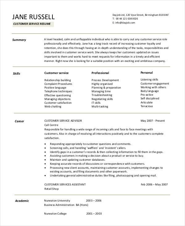 11+ Customer Service Resume Templates - PDF, DOC Free  Premium - resume customer service sample