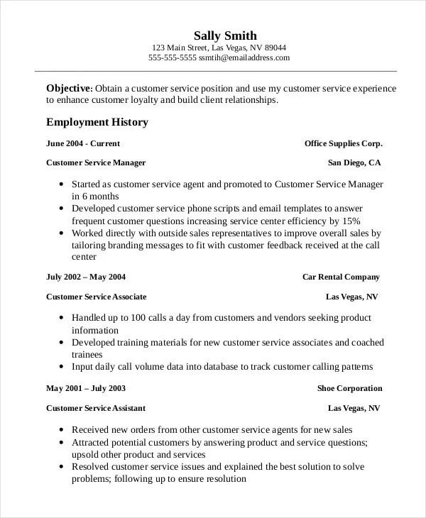 11+ Customer Service Resume Templates - PDF, DOC Free  Premium