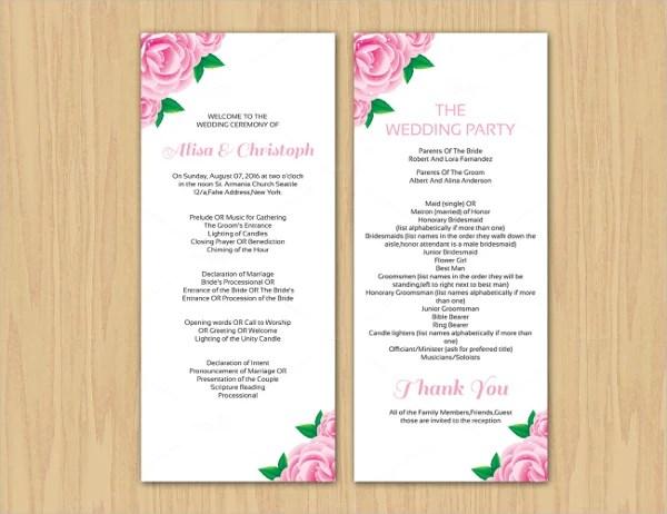 17+ Wedding Program Template Free  Premium Templates