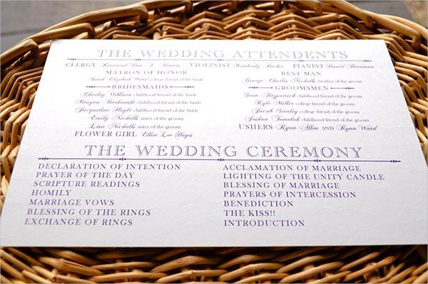 wedding program words