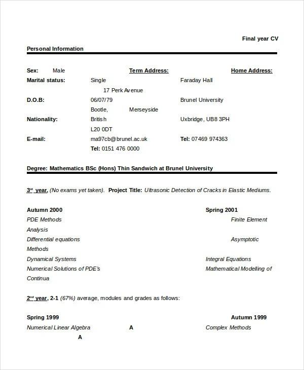 36+ Sample CV Templates - PDF, DOC Free  Premium Templates