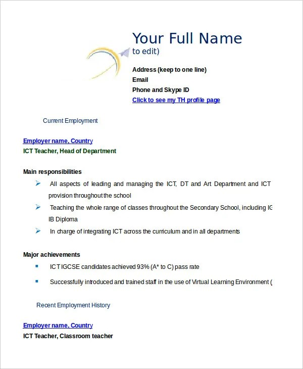 35+ Sample CV Templates - PDF, DOC Free  Premium Templates