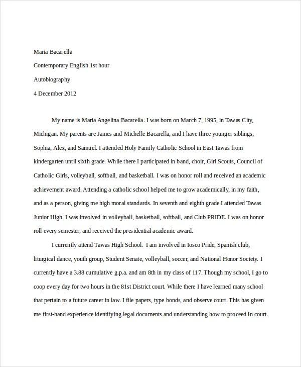 16+ Autobiography Example Free  Premium Templates - autobiography template