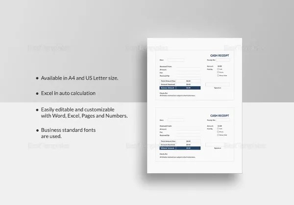 Cash Receipt Template - 15+ Free Word, PDF Documents Download Free