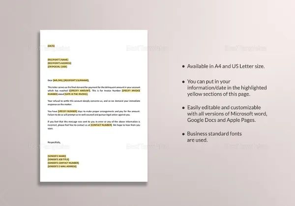 free demand letter template