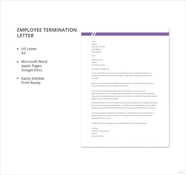 10+ Employee Termination Letter Templates - DOC, PDF, AI Free - how to write a termination letter to an employee